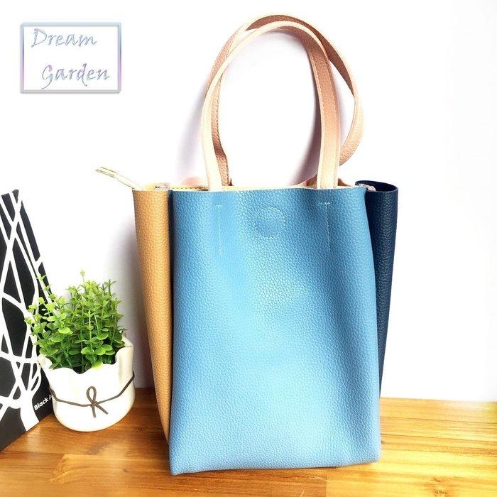 現貨 極簡風格 拼接撞色 側背包 托特包 休閒包 超大容量 粉紅配藍色 (大款)