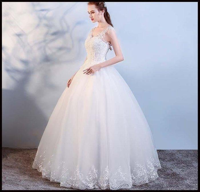 哆啦本鋪 婚紗禮服韓式雙肩V領顯瘦公主新款齊地女新娘結婚D655