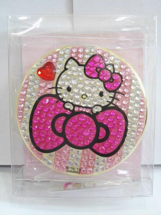 《東京家族》粉/白 Kitty 晶鑽 蝴蝶結 鏡子/隨身鏡/化妝鏡