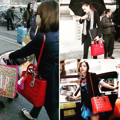 Dior Lady Dior 經典 紅色漆皮大款可手提 肩背包 超美色 銀logo 黛妃包 極新品 專櫃購入