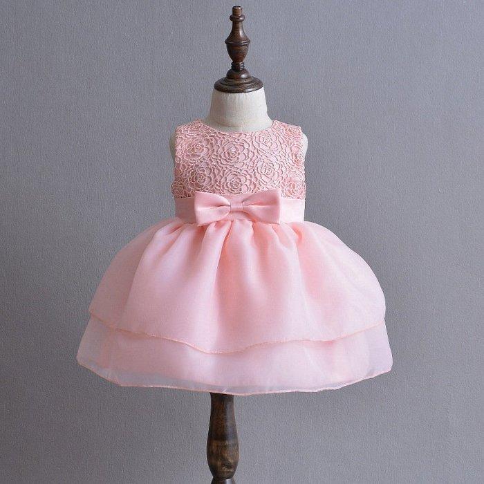 【衣Qbaby】女寶寶#滿月周歲寫真花童粉色禮服#加送髮帶