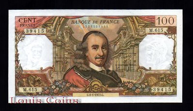 【Louis Coins】B093-FRANCE-1972法國鈔票.100Francs