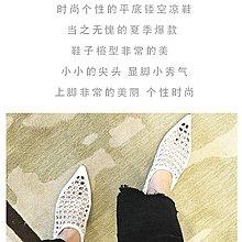 欧美风格:尖头方格镂空编织网女穆勒鞋平底 shoe