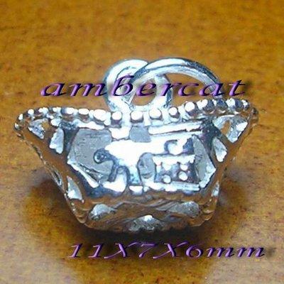 琥珀貓~【925純銀材料配件】吉祥墜飾~N8308~福字元寶~一個