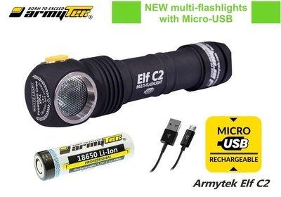 {MPower} 加拿大名廠 Armytek Elf C2 USB 頭燈 CREE XP-L 980流明 LED Flashlight 電筒 (黃光) 原裝行貨