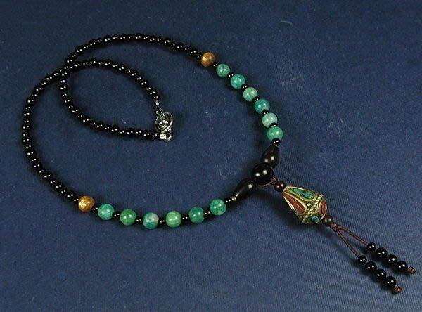 藏珠物流中心**鑲綠松珊瑚銅珠(錐型)**天河石**秀氣項鍊**☆F025☆