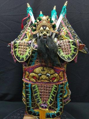 張飛  二手傳統布袋戲偶  木偶頭帽老件  衣服新件  頭手足均木製  懷舊賞件  不含支撐架不議價