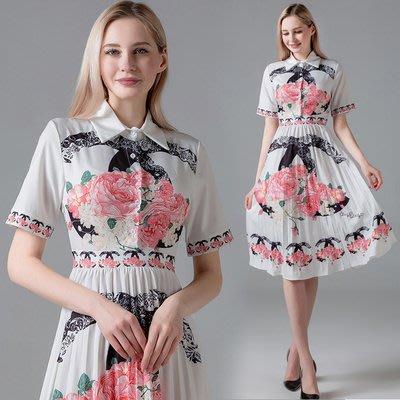 實拍現貨3473#名媛小香風時尚翻領短袖高腰修身印花連衣裙