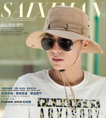 夏天男士帽子防曬遮陽帽戶外韓版潮運動釣魚帽青年漁夫帽太陽帽男 莫妮卡小屋
