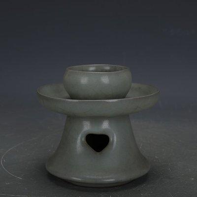 ㊣姥姥的寶藏㊣ 宋代官窯青釉鐵胎高足油燈  出土古瓷器手工古玩古董收藏擺件