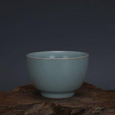 ㊣姥姥的寶藏㊣ 汝窯手工瓷天青釉功夫茶杯酒杯景德鎮  古瓷古玩古董收藏復古擺件