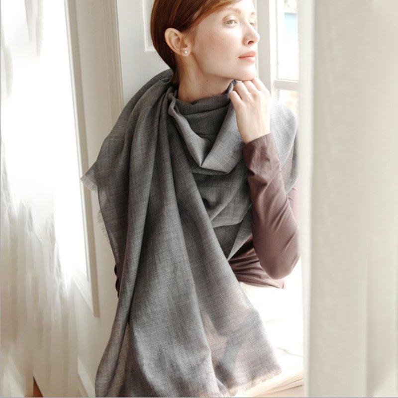 羊毛圍巾女士純黑色春秋冬季兩用超長薄款保暖大披肩韓版百搭圍脖