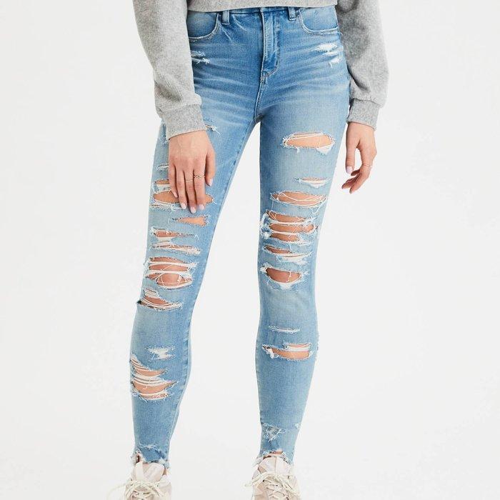 【現貨 20】AE 美國老鷹 全面超彈性高腰顯瘦牛仔破褲 高品質永不變形鉛筆褲 JEGGING
