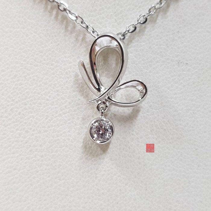 送禮禮物禮品全新品 天然鑽石項鍊 主石10分 585K金墜台 墜2x1.2cm 鋼鍊 鍊長45 大眾當舖 編號5867