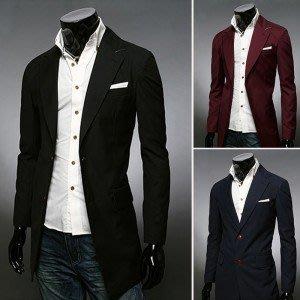 yes99buy加盟-2014秋冬새로운 韓味個性時尚單排扣中長款男式休閒風衣 外套