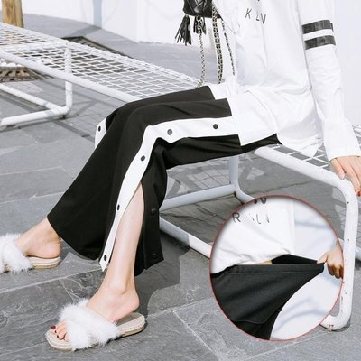 哆啦本鋪 孕婦春裝韓版褲子外穿孕婦闊腿褲寬鬆運動褲春秋外穿D655