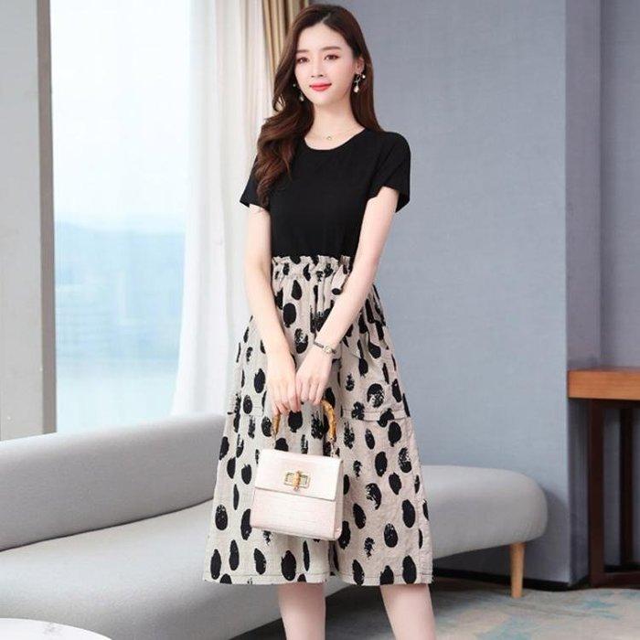 棉麻洋裝 棉麻波點拼接連身裙女2020夏季新款夏季氣質收腰減齡洋氣中長裙子 站CXZJ