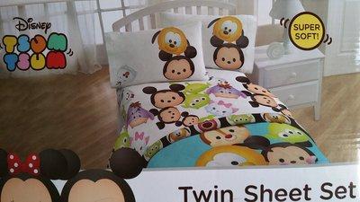 美國床組~DISNEY Tsum Tsum 可愛膠囊布偶圖款床包組~~單人床組郵寄免運中