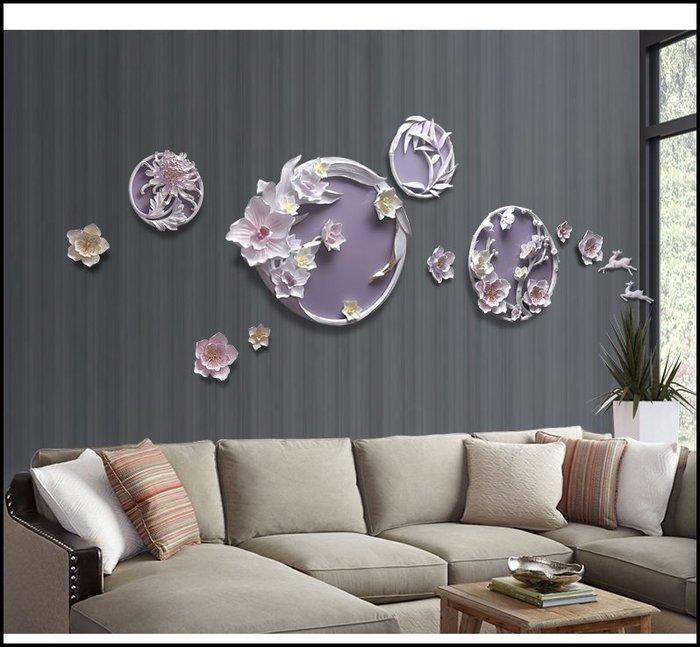 歐式古典風 立體浮雕圓形花卉壁畫壁飾 紫色波麗版畫壁畫掛畫 客廳房間餐桌沙發背景主牆面掛飾送禮入厝氣派大方【歐舍傢居】