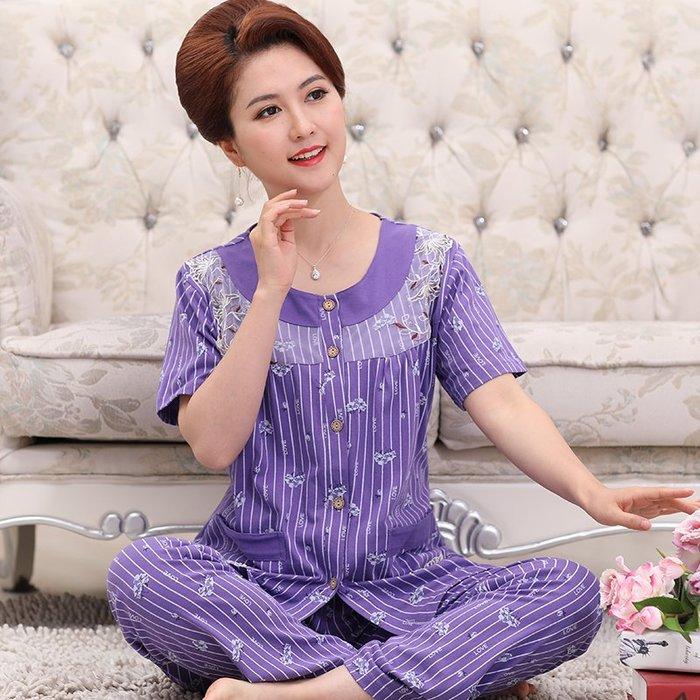 性感 睡衣 流行 居家服 正韓版中老年睡衣女士夏季中年媽媽款短袖純棉家居服老人開衫加大碼套裝