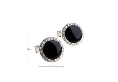 ☆TA精品☆ 男士精品-黑色圓形 白色水鑽 袖扣156265