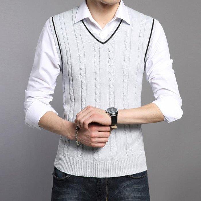 男士毛衣馬甲v領套頭無袖保暖毛線背心青年韓版修身坎肩針織衫潮 全館免運