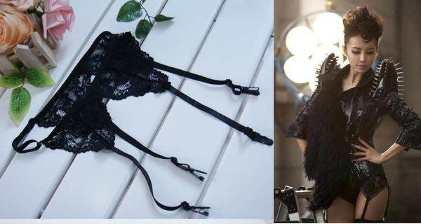 吊襪帶°~夏日物語~性感女神蔡依林同款夜店Party 黑色蕾絲吊襪帶大小 調節.直 100