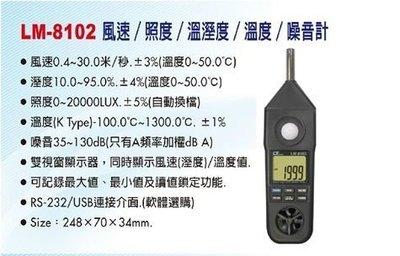 TECPEL 泰菱 》Lutron 路昌 LM 8102 風速 照度 溫濕度 溫度 噪音計 雙顯示 五合一