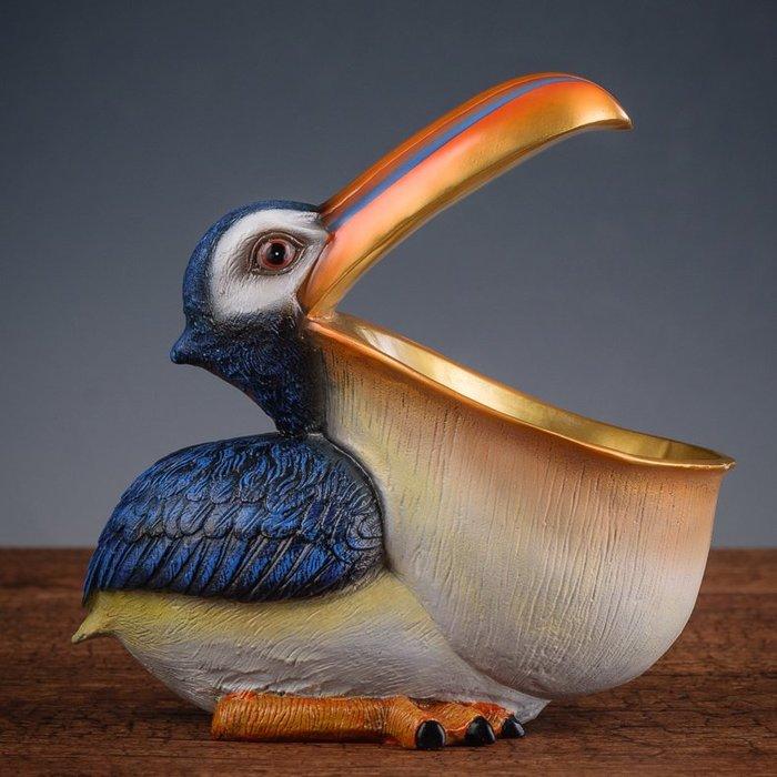旦旦妙 鑰匙收納盒玄關 耳環項鏈手表首飾整理盒床頭 大嘴鳥擺件 彩瀝150