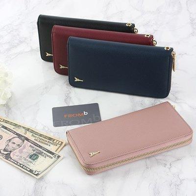 【橘子包舖】長夾 韓國正貨 FROMb  真皮拉鏈錢包 [G0950] 11卡位 手拿包 女皮夾 四色