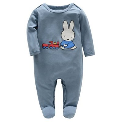 【Mombabyfun】米飛 艾瑞卡爾 Eric Carle 米菲兔長袖包腳連身衣(涼感竹纖維)  - 藍色 新品現貨