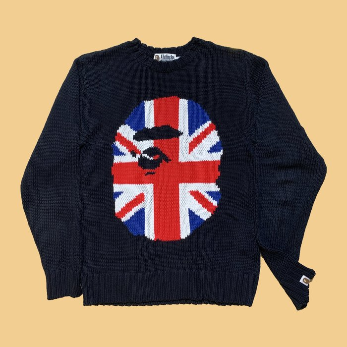 JCI:A BATHING APE 英倫猿人 黑色 針織毛衣 / BAPE / TRAVIS / A$AP / NIGO