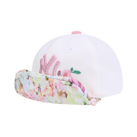 兒童款特價【韓Lin代購】韓國 MLB - 粉紅色NY燙鑽白色翻沿帽  72CPI5911