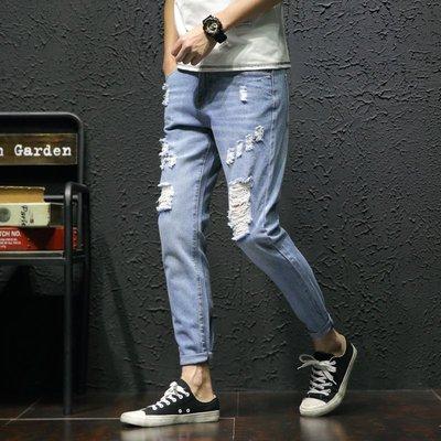 九分牛仔褲 28-40腰 破壞 磨破設計 丹寧 加大加肥 日系 大碼寬松破洞牛仔褲 大碼衣著 南山先生