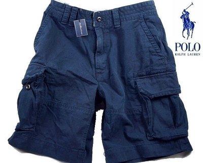POLO Ralph Lauren 短褲 工作褲 五分褲 海軍藍色 重磅 仿舊破壞 32 【以靡專櫃正品】