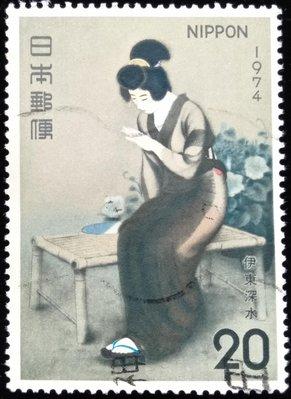 日本郵票切手趣味週間Philatelic Week伊東深水畫家畫作「指]1974年(昭和49年)4月20日發行特價