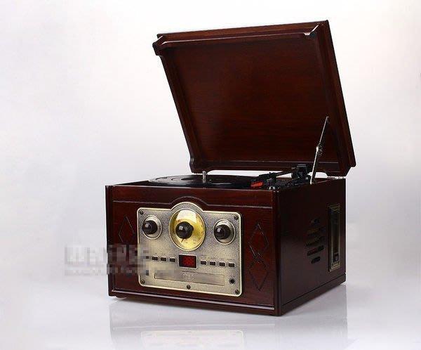 【優上精品】四合一仿古高檔電唱機 復古留聲機 黑膠唱片機 歐美尾貨(Z-P3252)