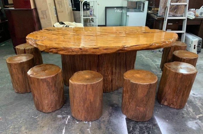 非凡二手家具 【全館自取價 】越南檜木泡茶桌+8張實木椅*和室桌*茶几桌*客廳桌*沙發桌*矮桌*泡茶桌