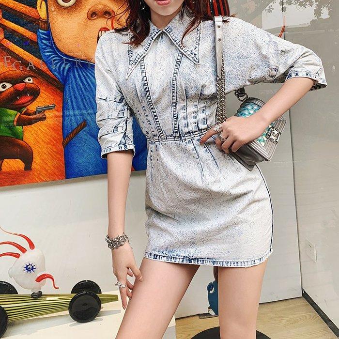 《巴黎拜金女》牛仔裙連衣裙氣質復古收腰顯瘦小個子顯高娃娃領裙