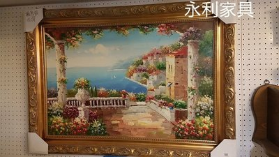 花園海景油畫