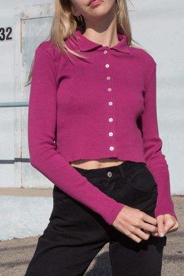 Brandy Melville 紫紅色排扣立領長袖上衣
