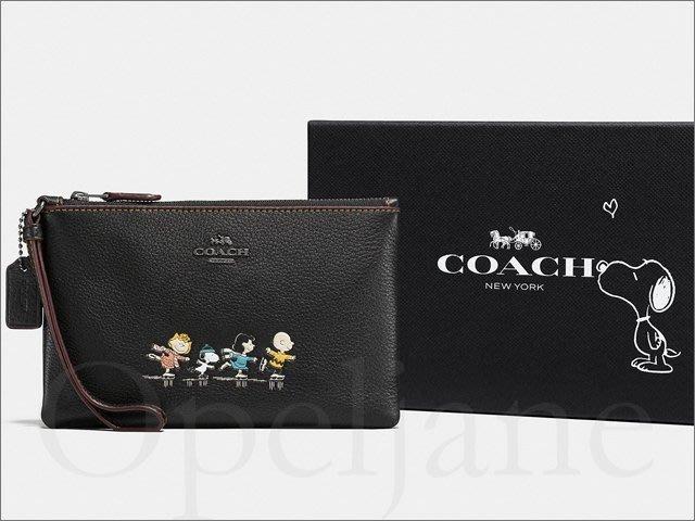 Coach 16110 Snoopy 限量款黑色真皮手拿包+精緻禮盒裝 萬用包內有卡片夾層袋可裝iPhone 或安卓手機