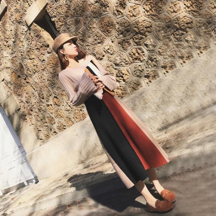 2018秋冬季新款小香風時髦顯瘦套裝裙子小個子長袖毛衣針織兩件套