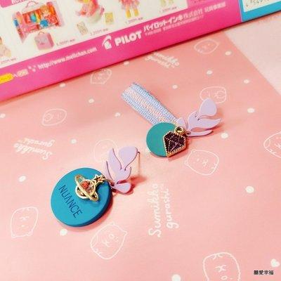 韓國NUANCE專櫃專業精工簍空字母鑽石行星馬卡龍彩帶幾何不對稱可愛耳環