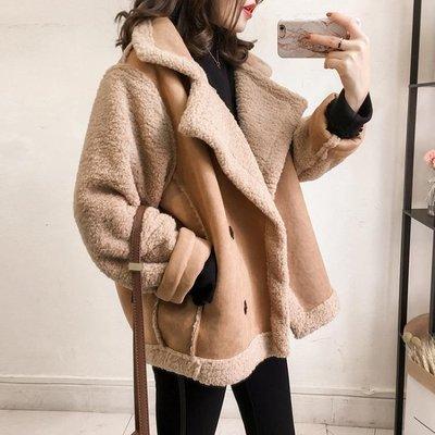 大翻領羊羔毛外套女寬松BF風皮毛一體鹿皮絨機車服夾克