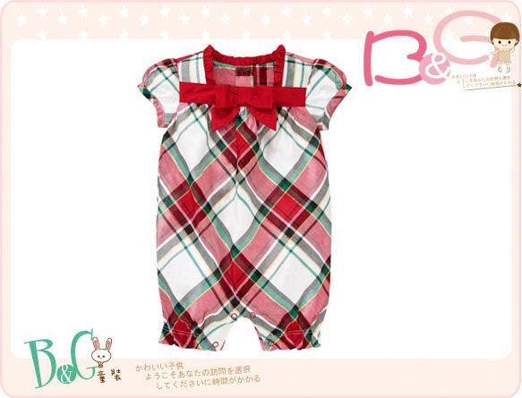 【B& G童裝】正品美國進口GYMBOREE  紅色格子短袖連身裝12-18mos