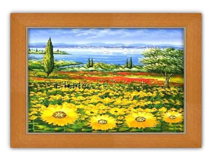 四方名畫: 太陽花向日葵029 C尺寸  含實木框/厚無框畫 畫質細緻 裝飾畫MIT可訂製尺寸