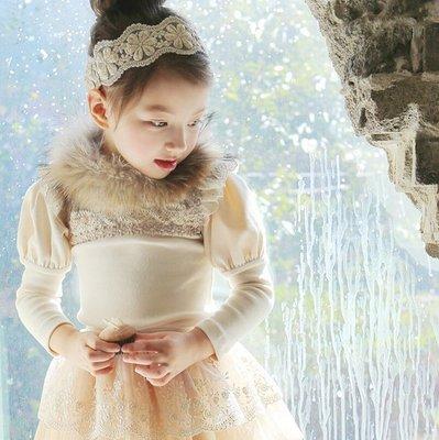 ※小甜田兒童世界※~~韓版新款冬裝女童加絨T恤上衣蕾絲邊泡泡袖T恤(米白)