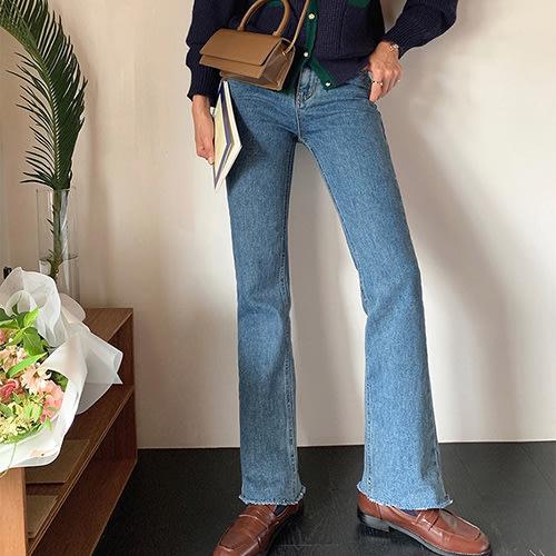 i-Mini 正韓 | 褲腳無收邊微喇叭高腰牛仔褲SML|‧ 韓國連線‧代購‧空運【09222495mo】