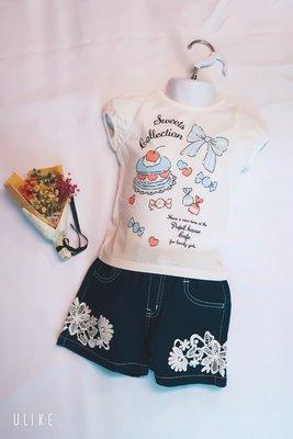 Pupil House蛋糕、蝴蝶結圖案白T恤